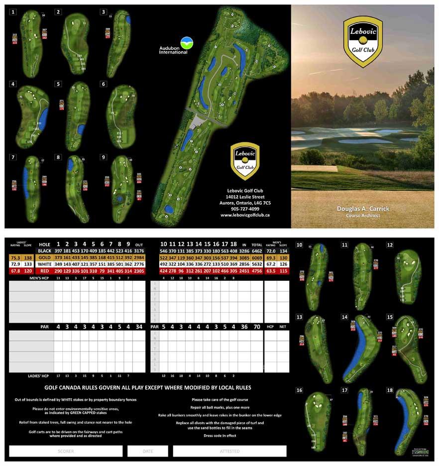 Bev Moir, Lebovic Golf Club Score card